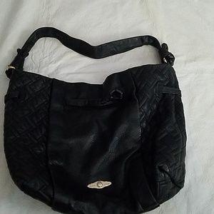 Elliott Lucca Black Cow Leather Quilted Handbag
